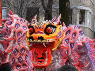 Un dragon lors du défilé du nouvel an chinois au 112 Avenue d'Ivry, 75013 Paris, France, Paris.